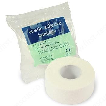 White Elasticated Adhesive Bandage 2.5cm x 4.5m (Pack of 10) 1