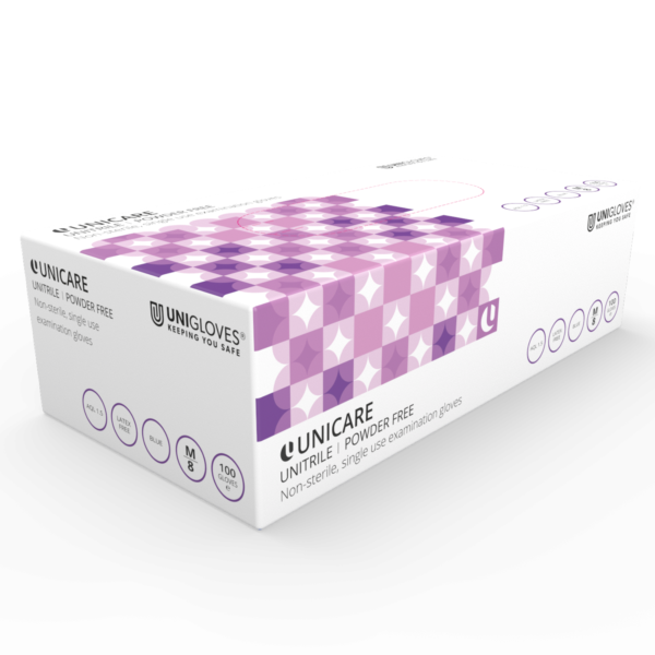 Blue Powder Free Unitrile Gloves Medium box 100